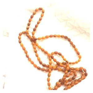 "80"" rope amber butterscotch lucite necklace swirl"